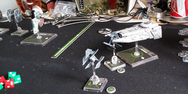 Anery's Decimator collecting a TIE Defender on turn 1.
